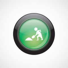 construction works glass sign icon green shiny button