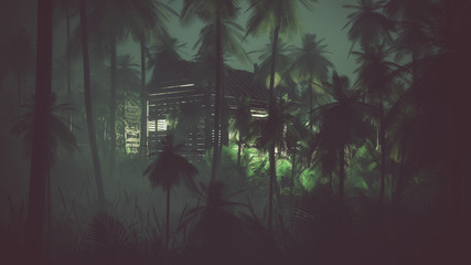 Remote old wooden cabin in palm tree jungle at night.