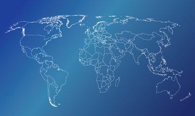World map countries white outline blue gradient EPS10 vector