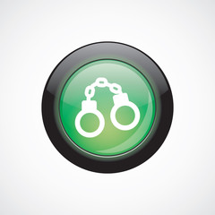 handcuffs glass sign icon green shiny button