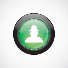 detective glass sign icon green shiny button