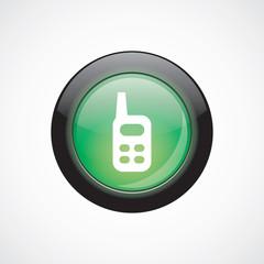 radio glass sign icon green shiny button