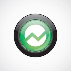 circle diagram glass sign icon green shiny button