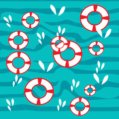 Vector seamless  pattern with waves and fish in flat style