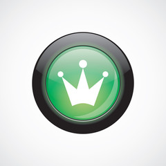 crown glass sign icon green shiny button
