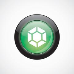 diamond glass sign icon green shiny button.