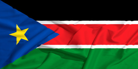 South Sudan flag on a silk drape waving