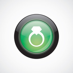 jewelery ring glass sign icon green shiny button