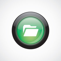 folder glass sign icon green shiny button