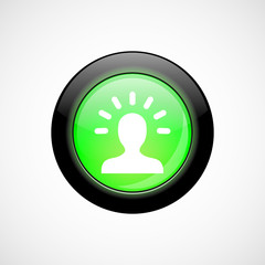 good idea glass sign icon green shiny button