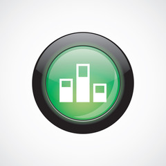 levels glass sign icon green shiny button