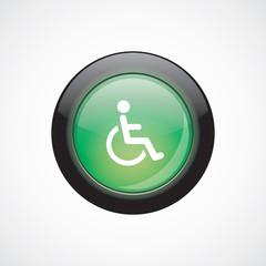 cripple glass sign icon green shiny button