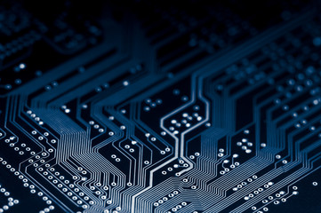 Macro of electronic circuit board in blue
