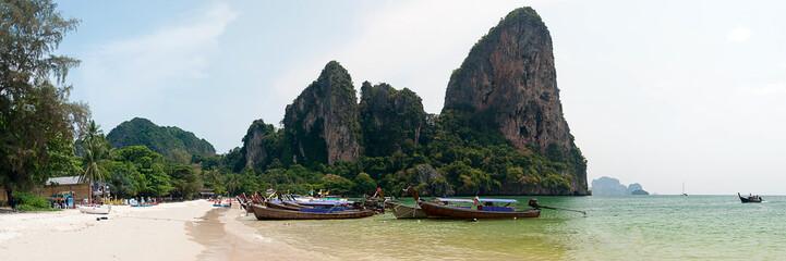 Beach and Mountain Panorama Krabi Thailand