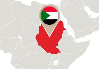 Sudan on World map
