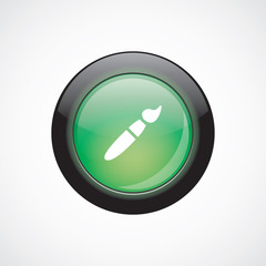 paintbrush glass sign icon green shiny button