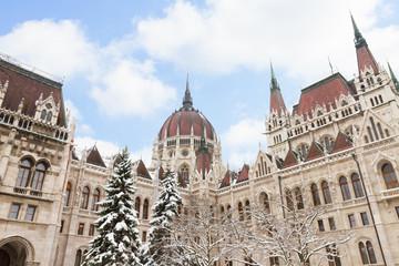 facade of parliament winter day, Budapest