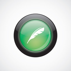 feather sign icon green shiny button
