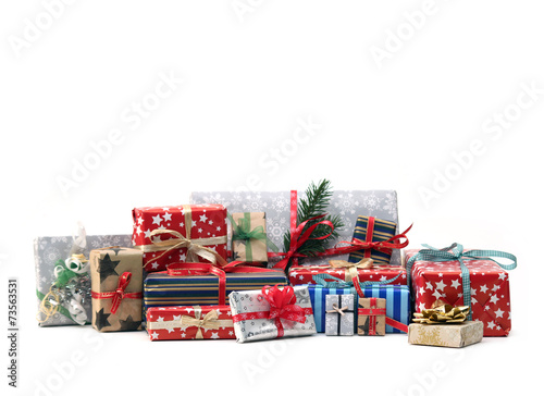 Tuinposter Uitvoering Christmas gifts isolated on white background