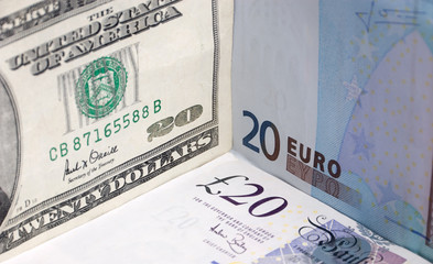 Euros, Dollars and Sterling Bank Notes