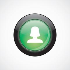 female profile sign icon green shiny button
