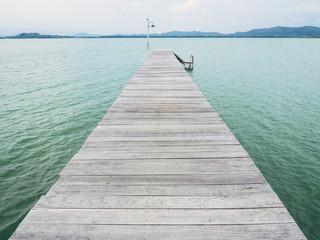 wooden pier port landscape with ocean