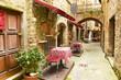 Leinwanddruck Bild - Restaurant in Tuscany