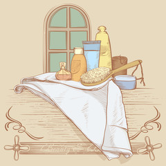 Drawing Illustration of Bath Accessories