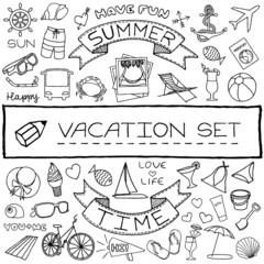Hand drawn vacation icons set