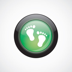 man footprints sign icon green shiny button