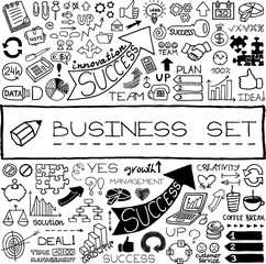 Hand drawn business set of icons