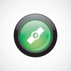 Time glass sign icon green shiny button.