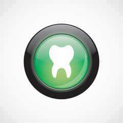 tooth glass sign icon green shiny button