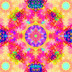 Kaleidoscope Fractal Pink and Yellow