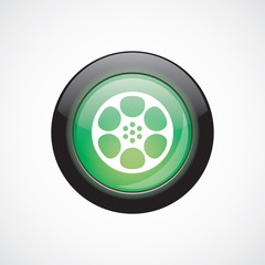 video film glass sign icon green shiny button