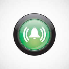 bell glass sign icon green shiny button