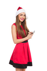 Santa girl sending text message