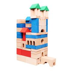 castle made of wooden blocks