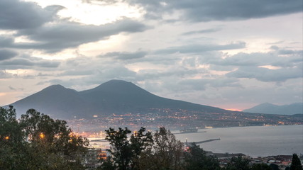 Naples with Mount Vesuvius in the Sunrise Timelapse