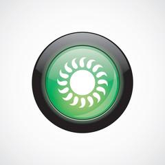 sun glass sign icon green shiny button.