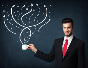 Businessman holding a white cup with lines and arrows