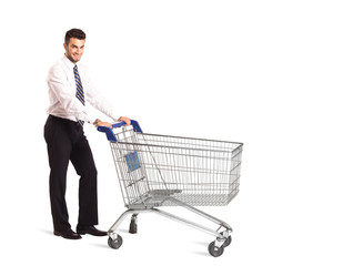 Businessman with shopping cart