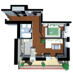 3d render of apartment from top