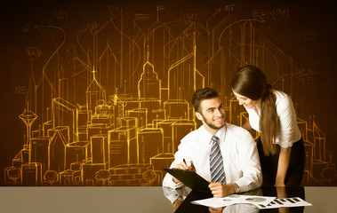 Business couple with buildings and numbers