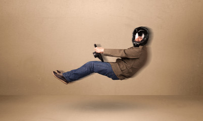 Happy funny man driving a flying car concept