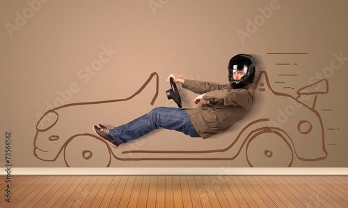 canvas print picture Happy man driving an hand drawn car on the wall