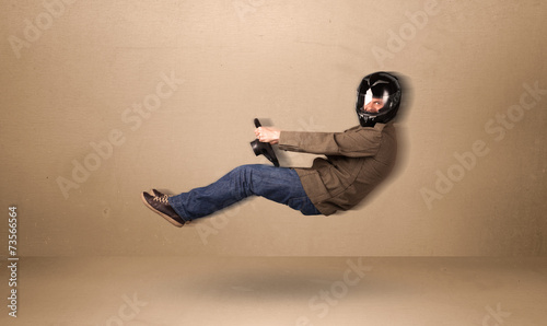 canvas print picture Happy funny man driving a flying car concept
