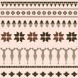 Brown winter ornamental pattern with deer