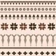 Brown winter ornamental pattern with deer