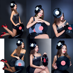 collage girl posing with musical vinyl record on dark background